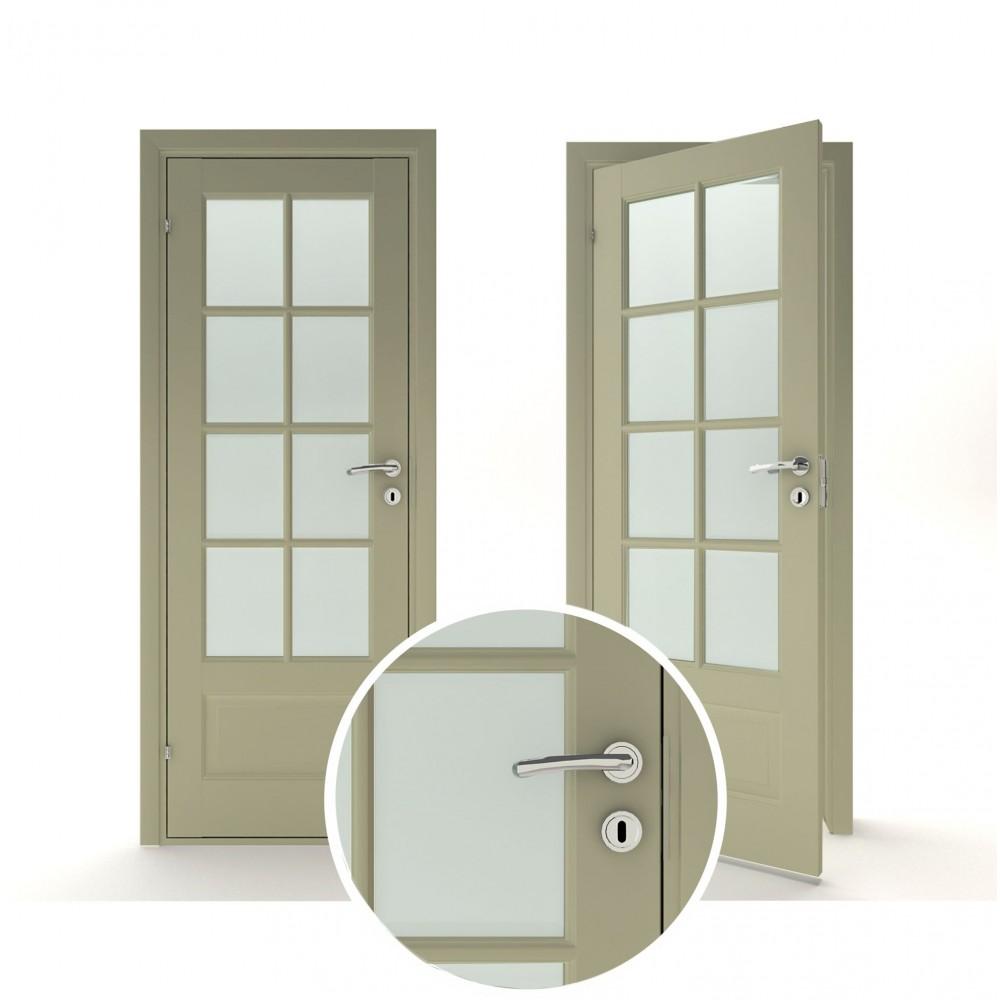 chaki žalios spalvos vidaus medinės durys skandinaviško dizaino, su rankena