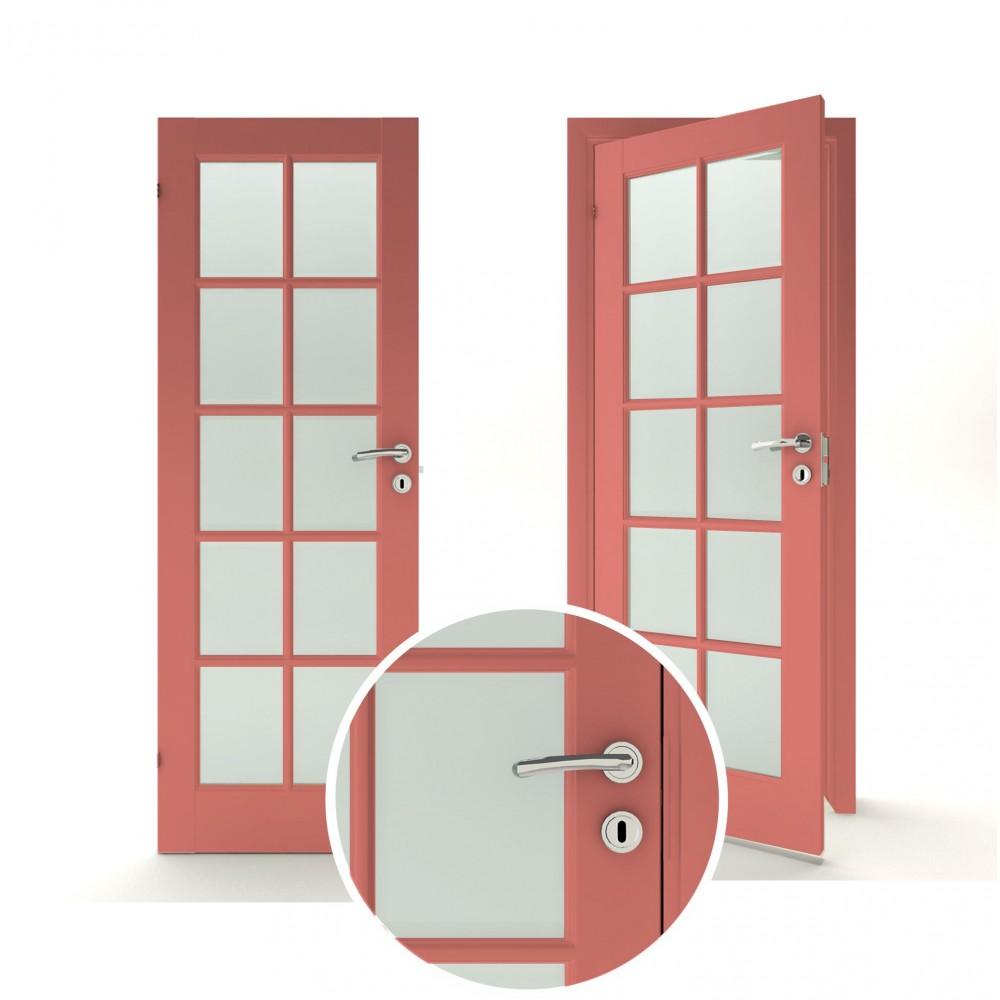 raudonos spalvos vidaus medinės durys skandinaviško dizaino, padengtos medžio dulkių plokšte