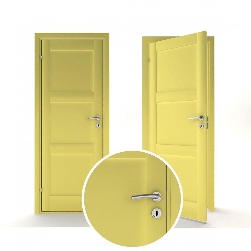 geltonos spalvos vidaus medinės durys skandinaviško dizaino, iš klijuotos medienos