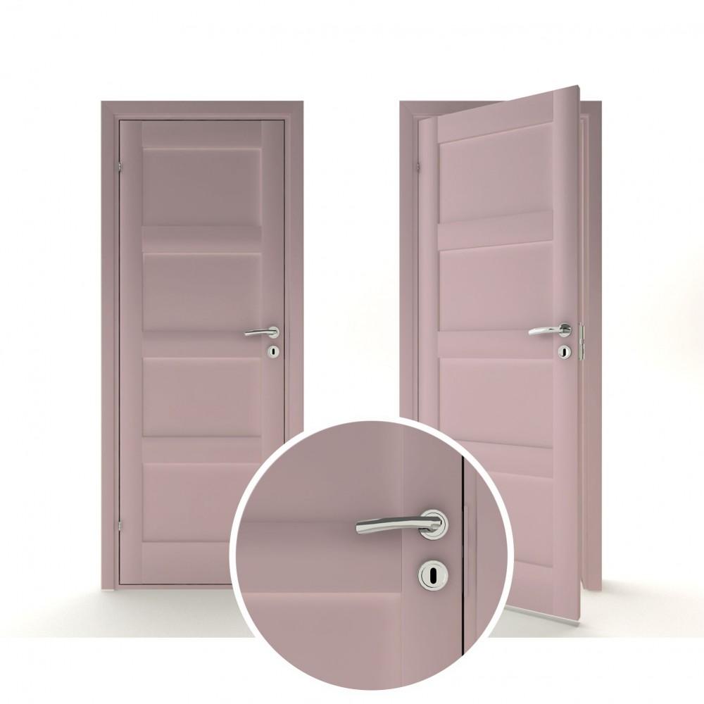 rausvos spalvos vidaus medinės durys skandinaviško dizaino, dažyta pramoniniu būdu keturis kartus