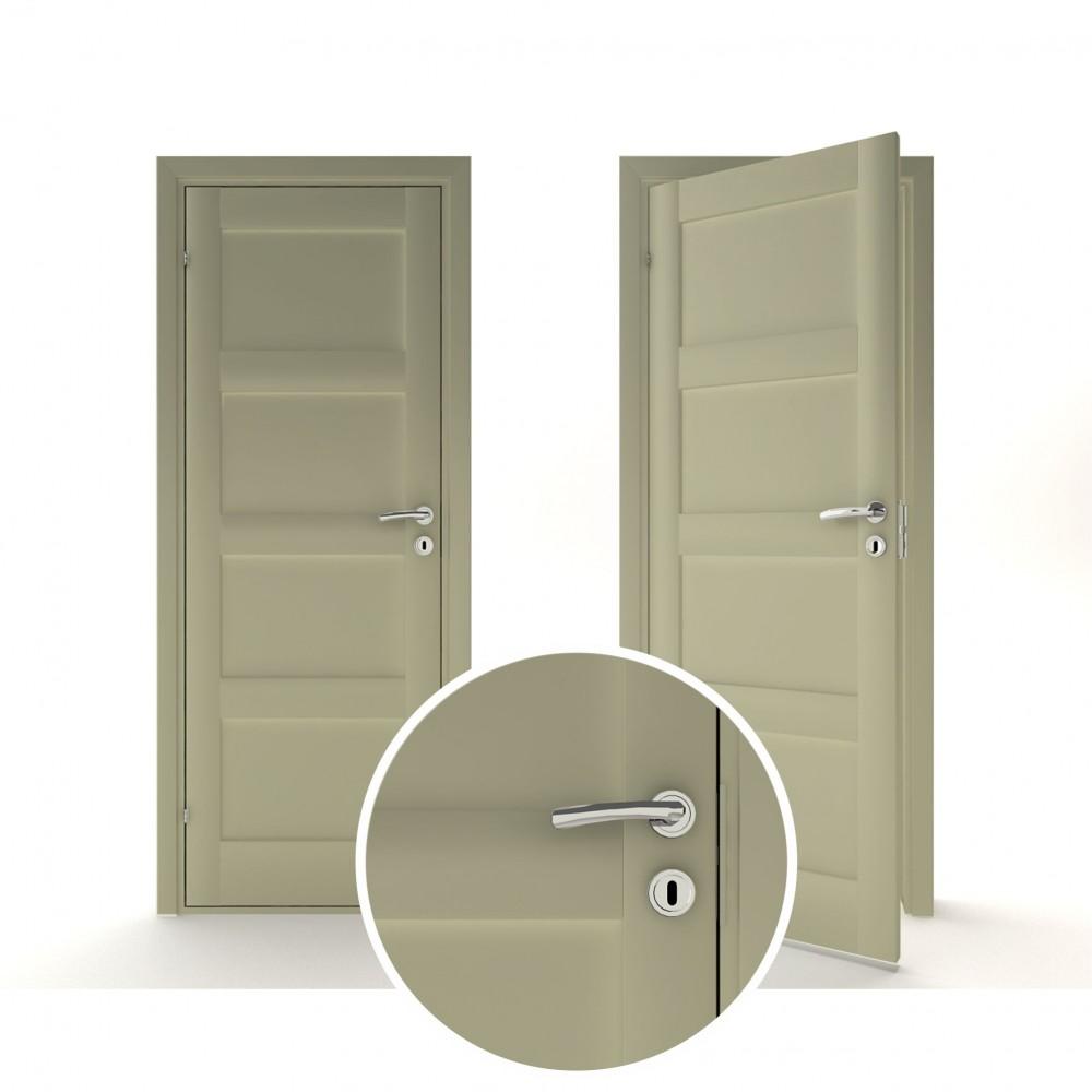 žaliai pilkos spalvos vidaus medinės durys skandinaviško dizaino, su spyma
