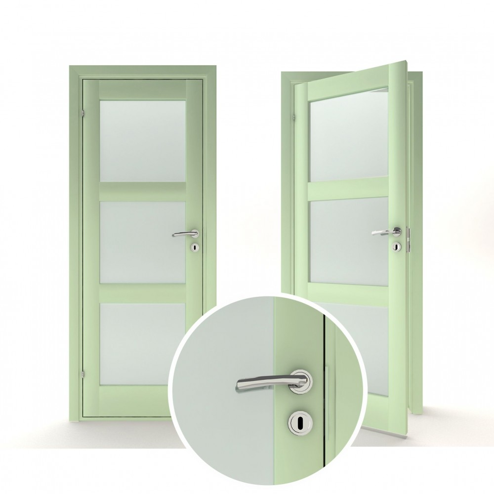pastelinės žalios spalvos vidaus medinės durys skandinaviško dizaino, su stiko paketu