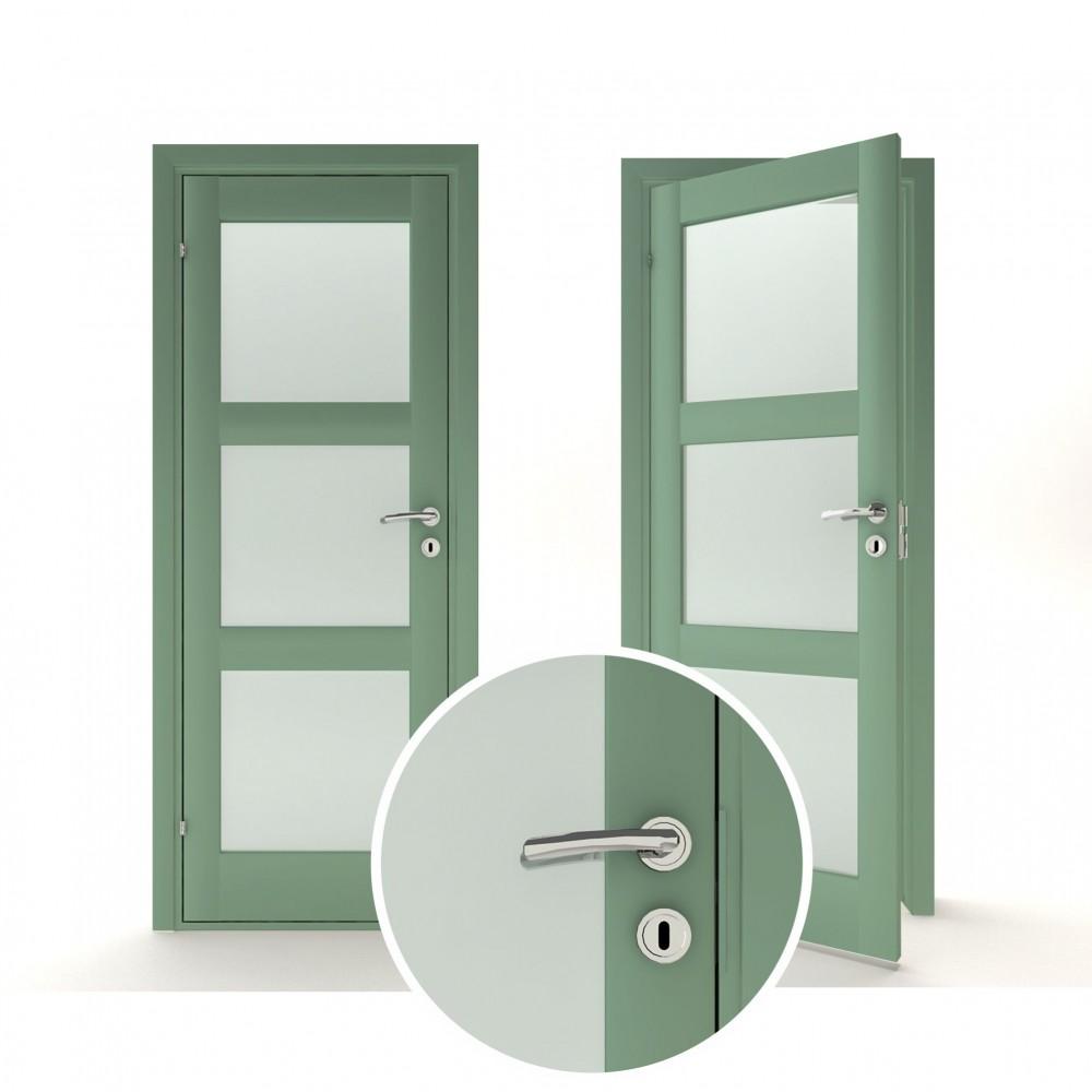mėtinės žalios spalvos vidaus medinės durys skandinaviško dizaino, modernaus dizaino