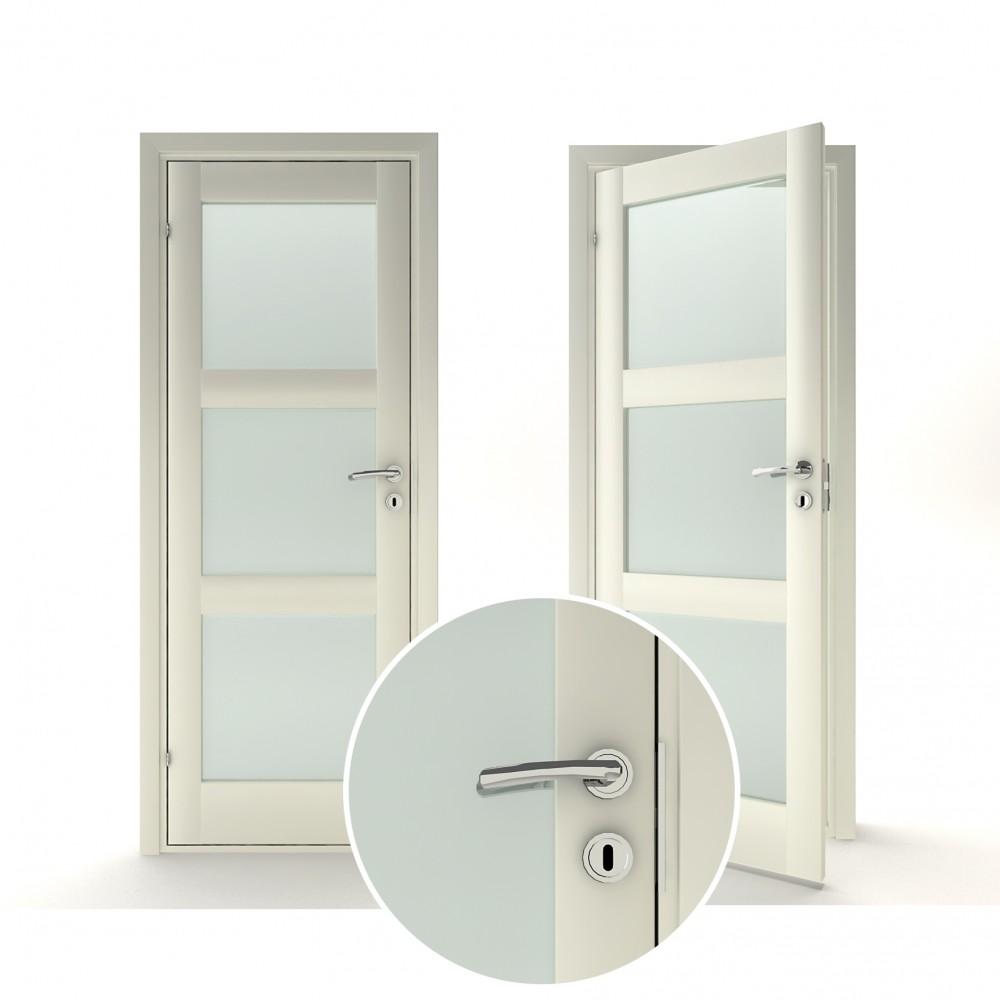 baltos spalvos vidaus medinės durys skandinaviško dizaino, pilnavidurės
