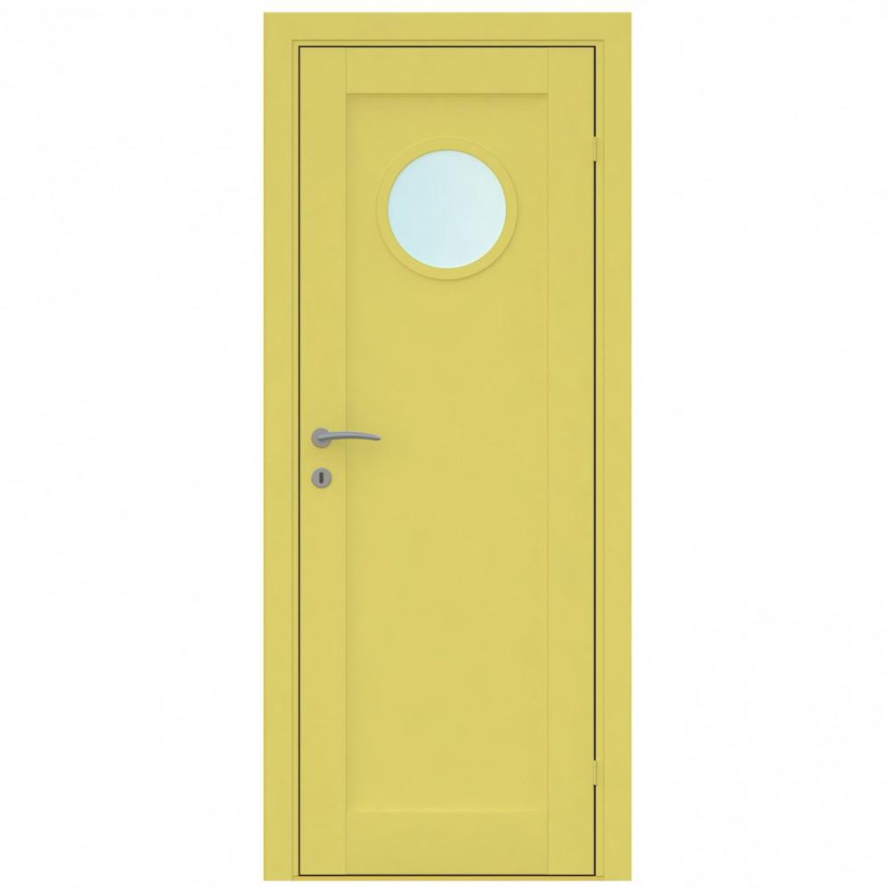 geltonos spalvos vidaus medinės durys skandinaviško dizaino, iš klijuotos medienos, su apvaliu langu