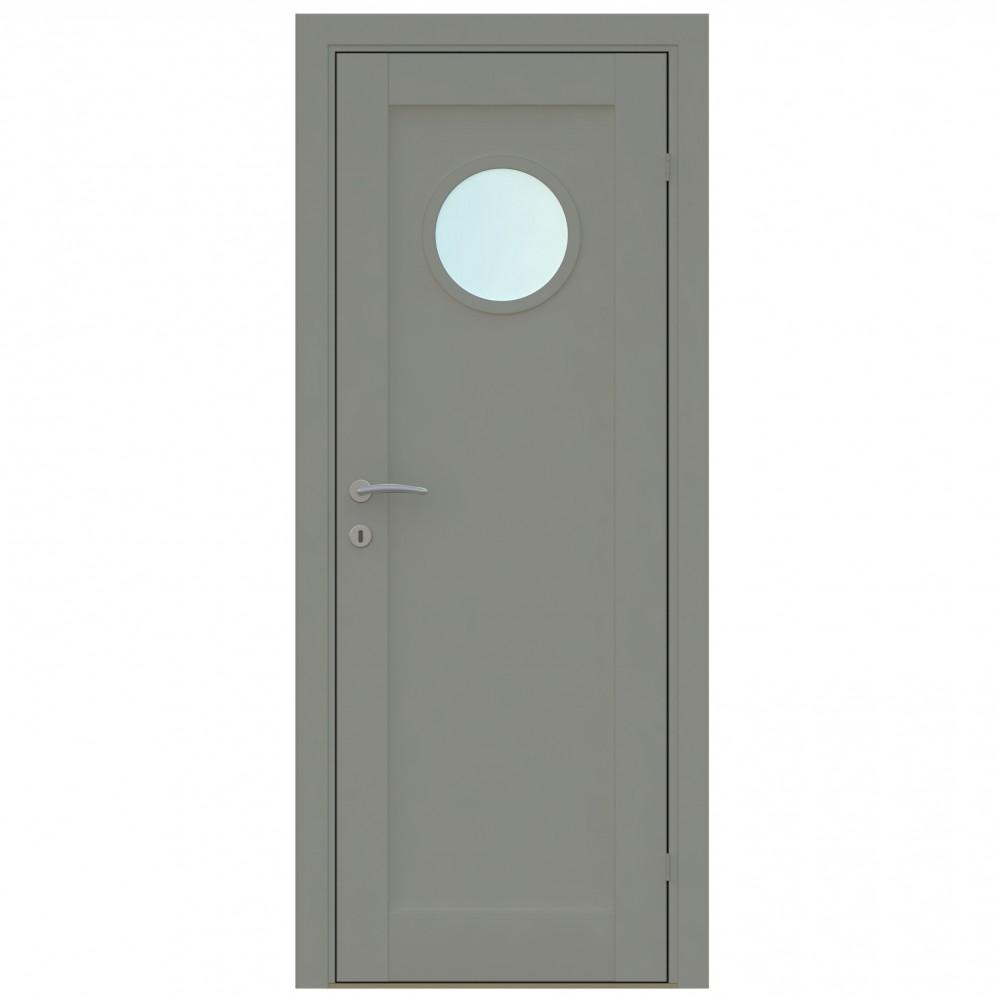 juodos spalvos vidaus medinės durys skandinaviško dizaino, 2050 x 2100, su apvaliu langu