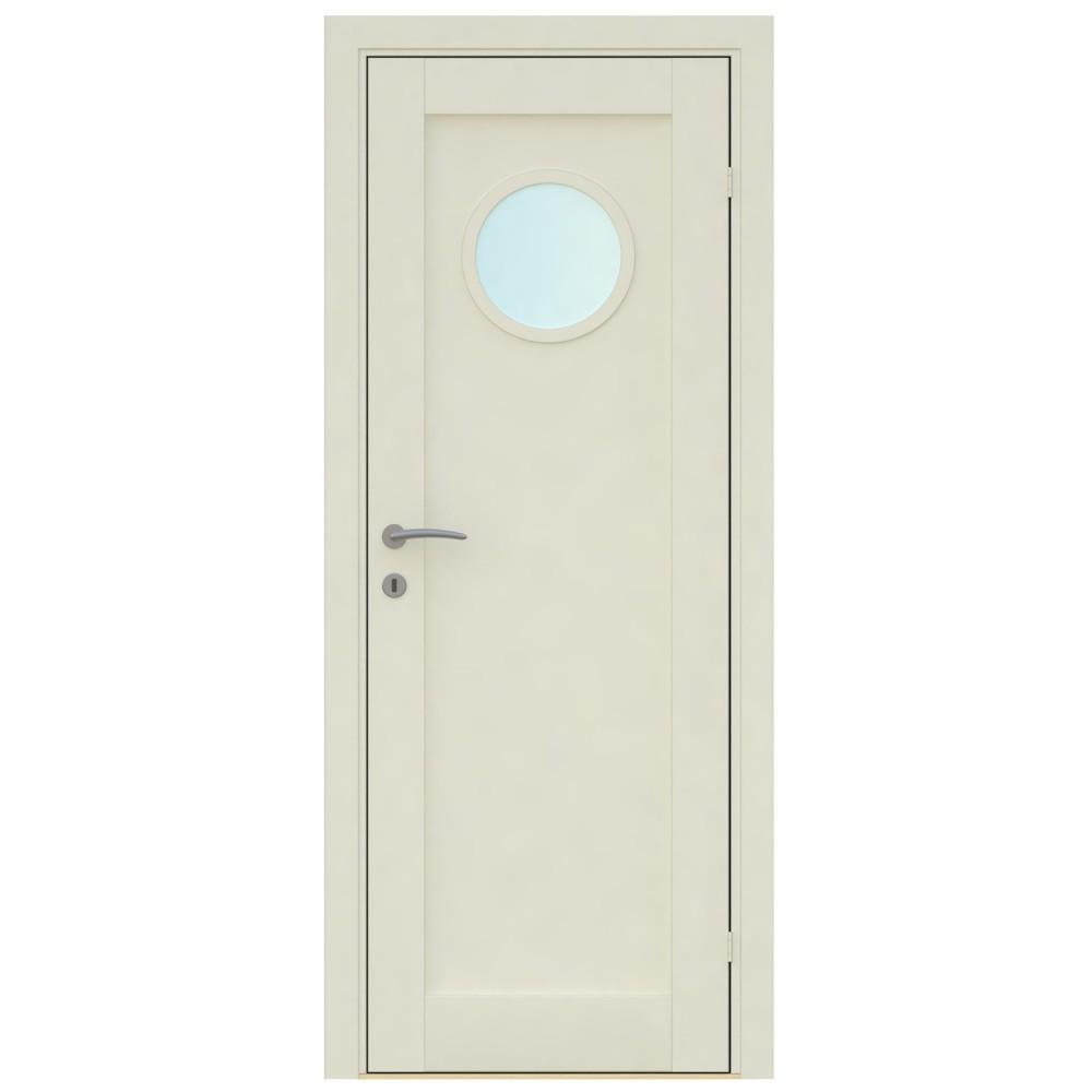 baltos spalvos vidaus medinės durys skandinaviško dizaino, kokybiškos, su apvaliu langu