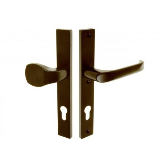Lauko durų rankena. Traukiama-lenkiama. L-92 8 130 Dešinė Ruda - 16.53eur. PVC lauko durų rankenos, www.doorshop.lt