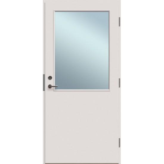 sidabrinės spalvos priešgaisrinės ir garsą slopinančios durys, su stiklu, butų