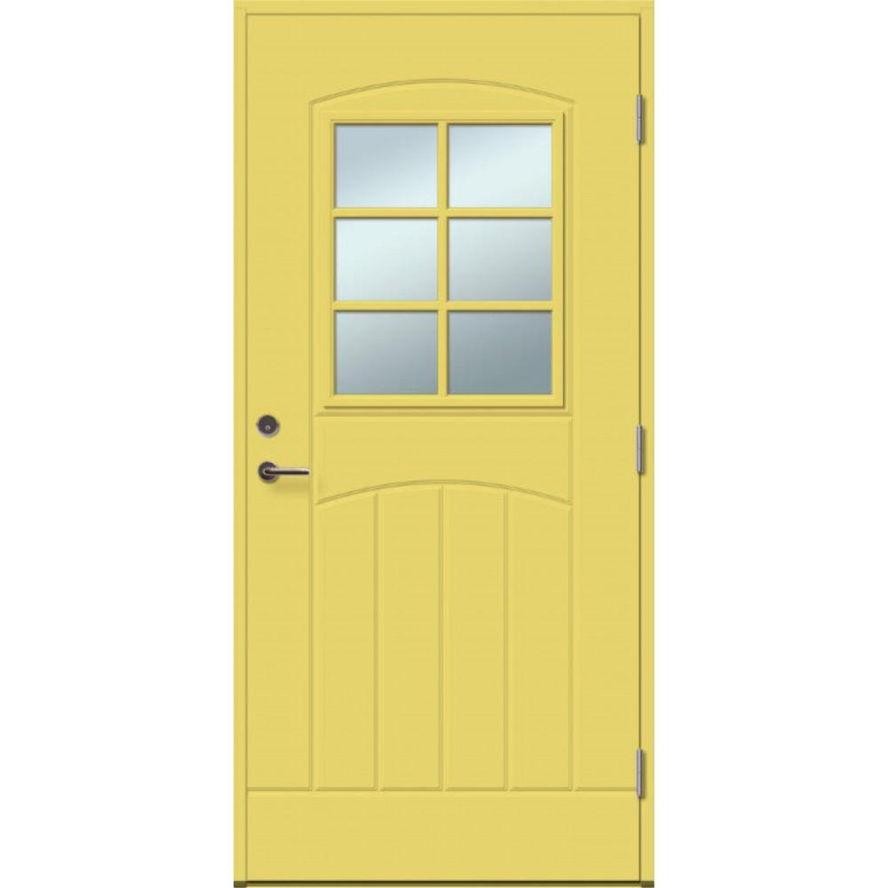 geltonos spalvos durys su spyna, su stiklu