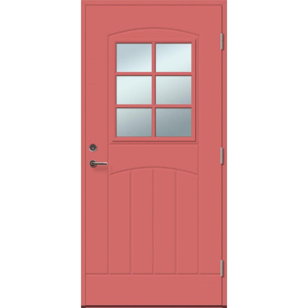 raudonos spalvos durys, Slenkstis ąžuolinis lakuotas su aliuminiu