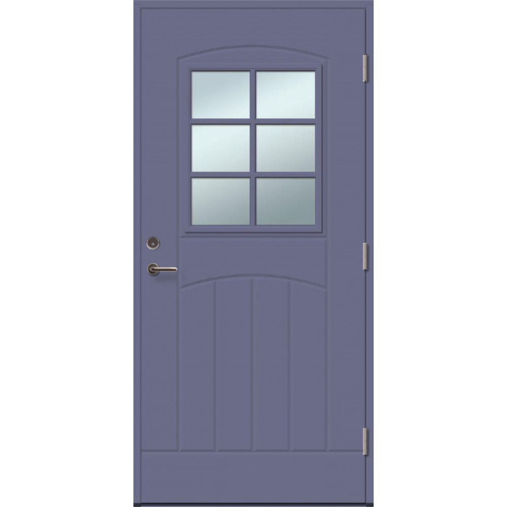 mėlynos spalvos durys, su rankena