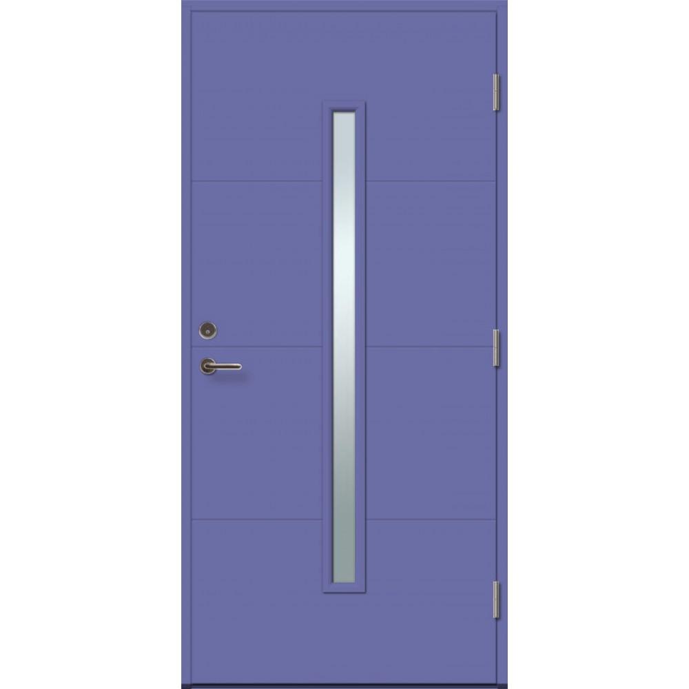 violetinės spalvos durys, modernaus dizaino