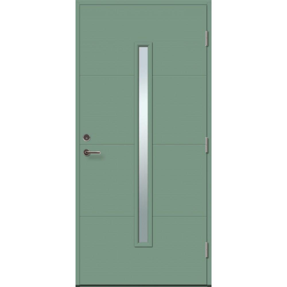 mėtinės žalios spalvos durys, klijuotos pušies