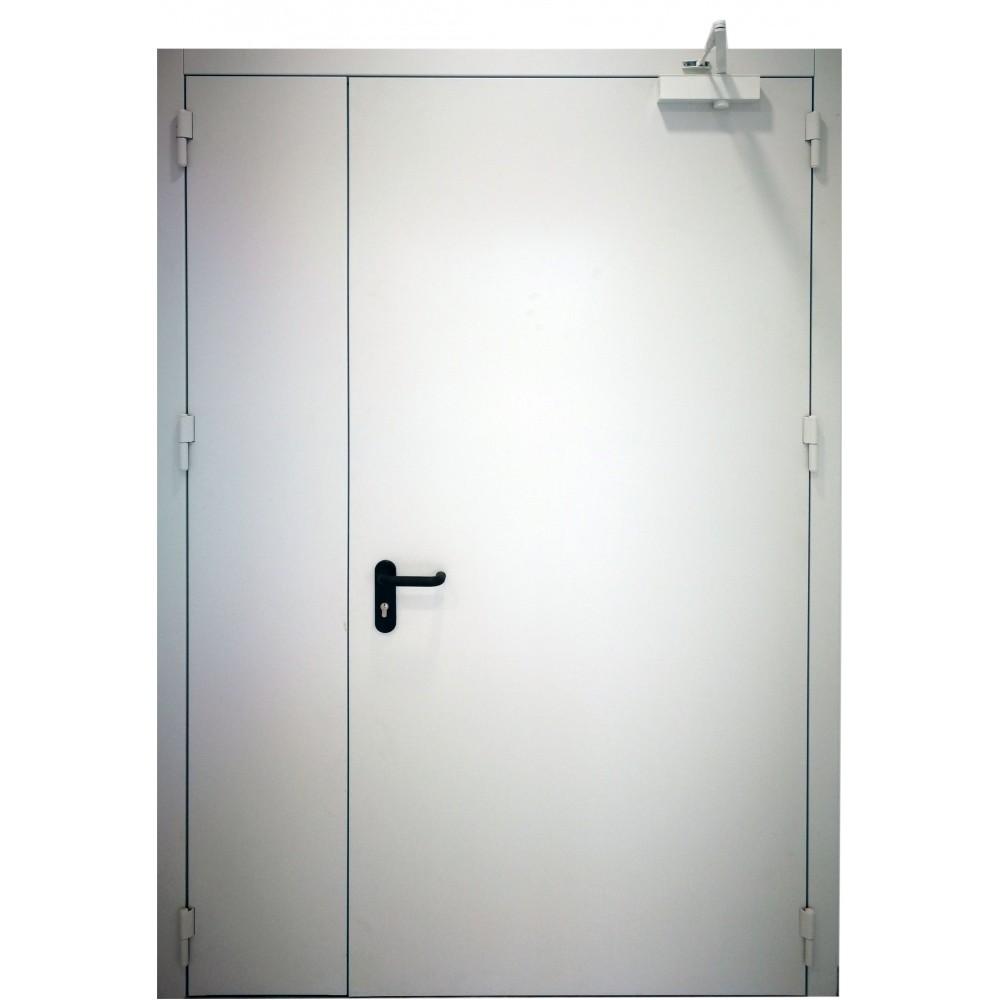 baltos spalvos metalinės dvivėrės lauko durys PROTECTUS, aukšto tankio akmens vata