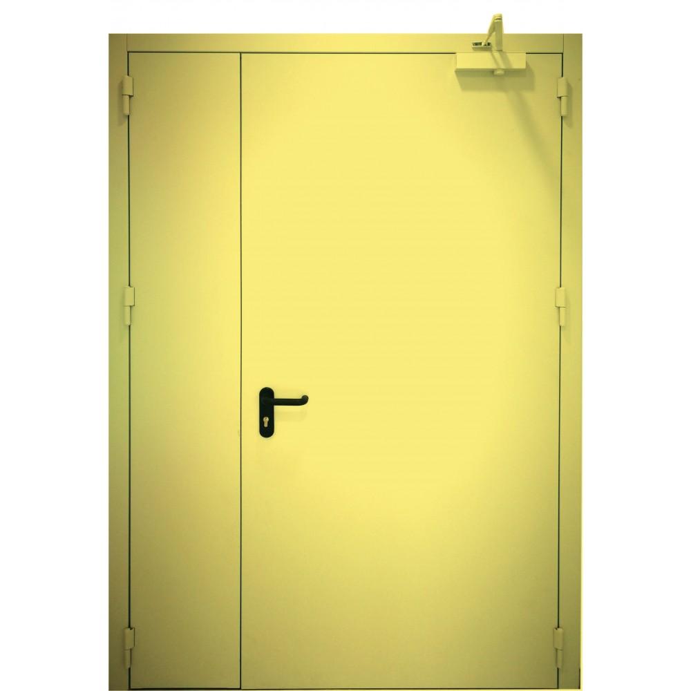 geltonos spalvos metalinės dvivėrės lauko durys PROTECTUS, varčios storis 62mm