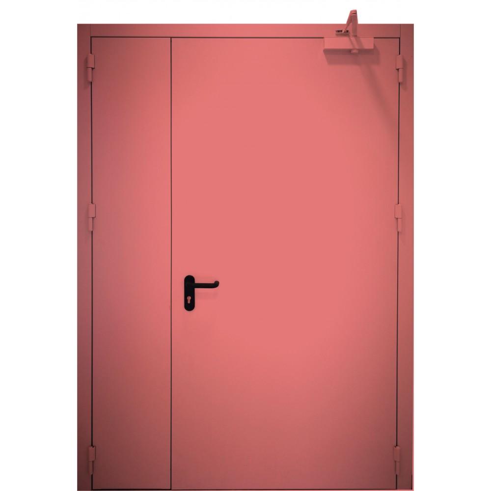 raudonos spalvos metalinės dvivėrės lauko durys PROTECTUS, staktos 100m