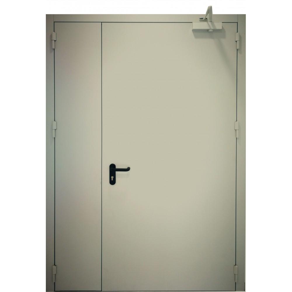 šviesiai pilkos spalvos metalinės dvivėrės lauko durys PROTECTUS, oro pralaidumo klasė 4
