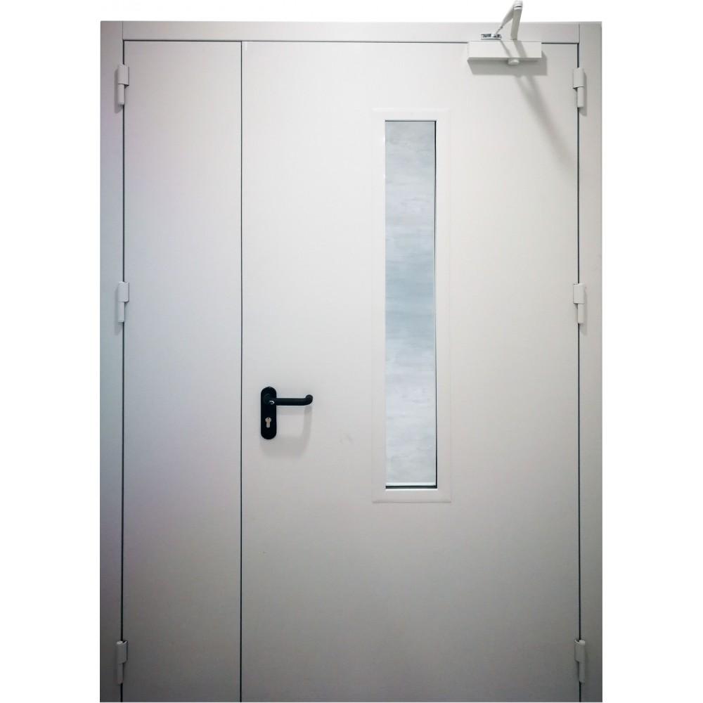 baltos spalvos metalinės dvivėrės lauko durys su stiklu PROTECTUS, aukšto tankio akmens vata