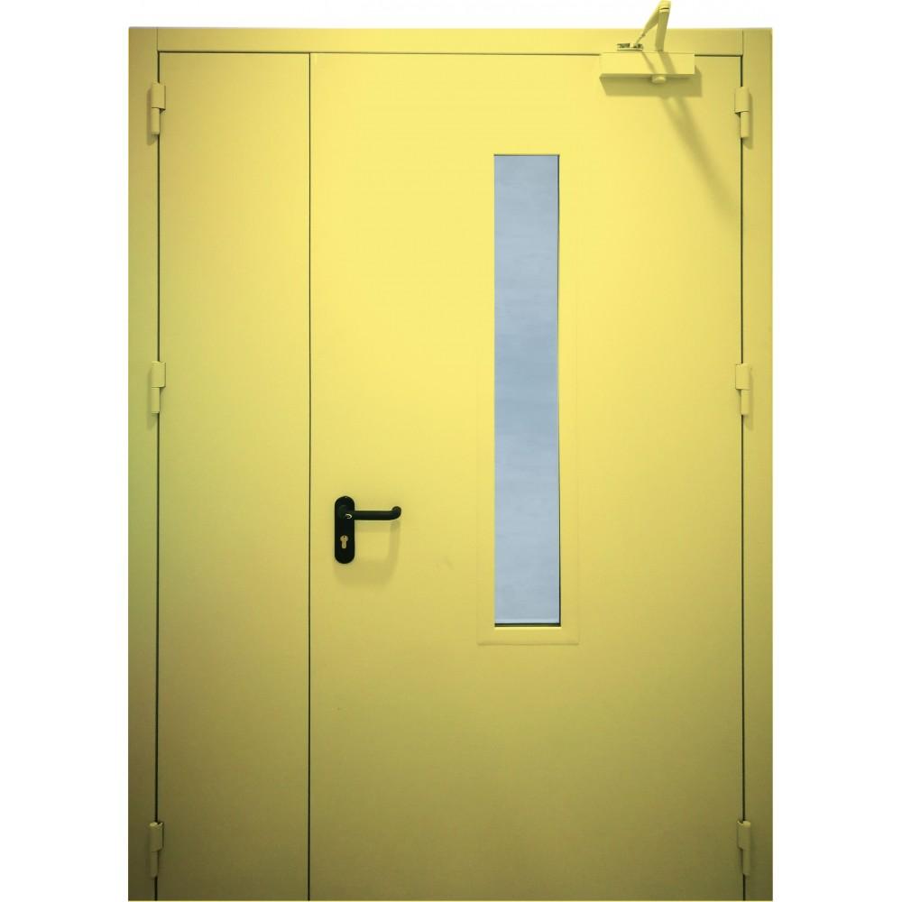 geltonos spalvos metalinės dvivėrės lauko durys su stiklu PROTECTUS, varčios storis 62mm