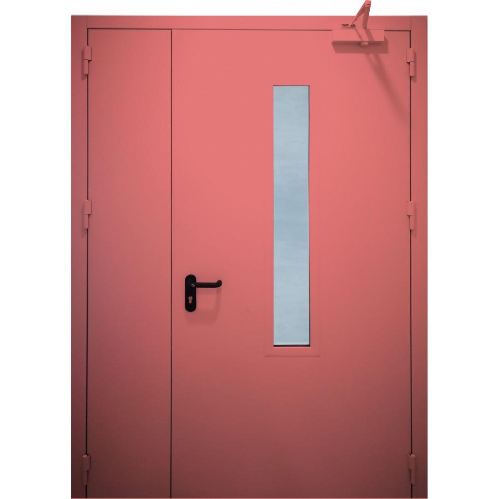 raudonos spalvos metalinės dvivėrės lauko durys su stiklu PROTECTUS, staktos 100m