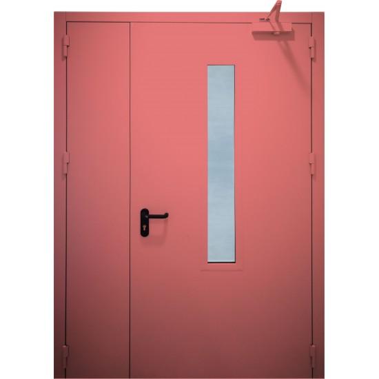 """METALINĖS DVIVĖRĖS PRIEŠGAISRINĖS LAUKO DURYS SU STIKLU """"PROTECTUS"""" EI60 - 1,206.61eur. Metalinės priešgaisrinės lauko durys, www.doorshop.lt"""