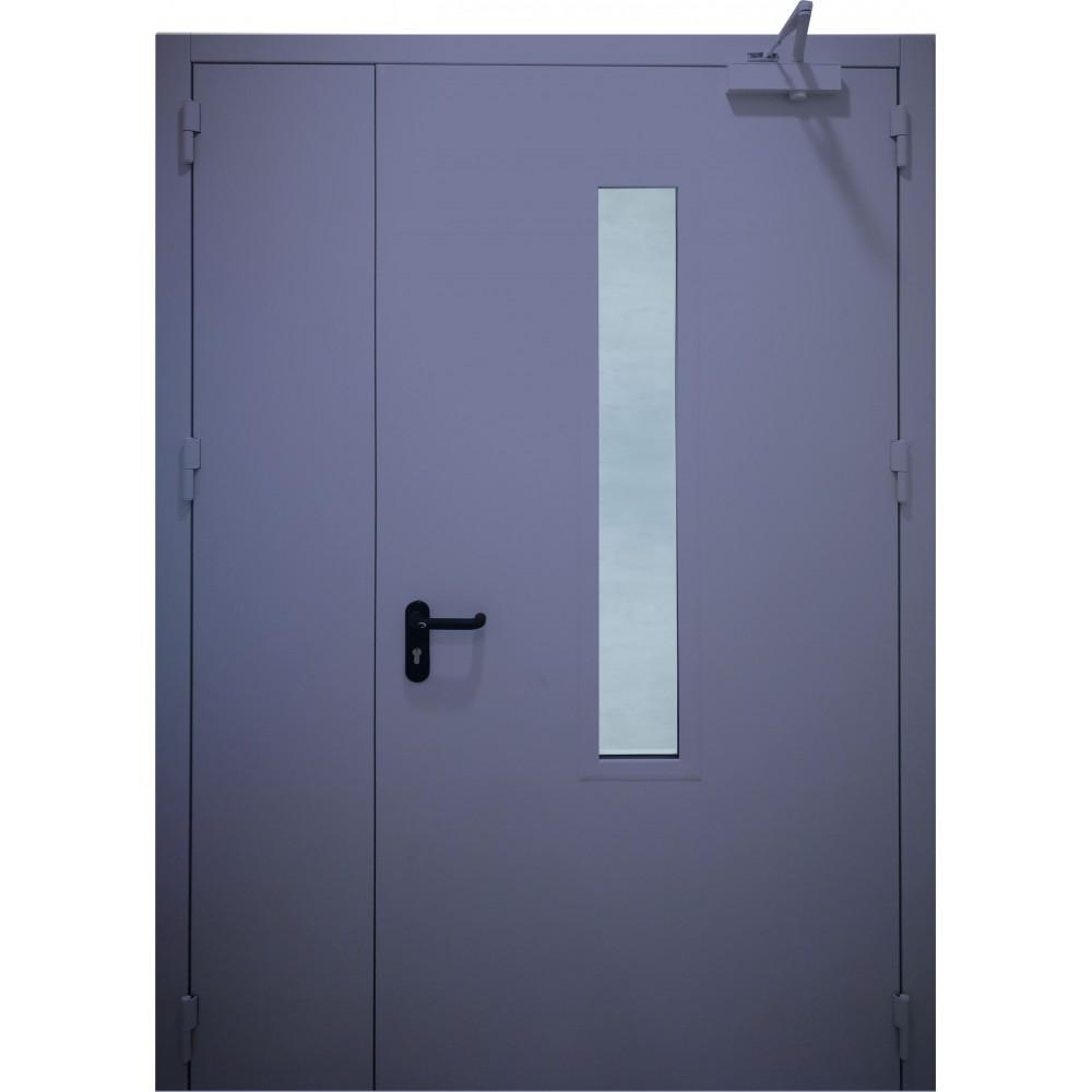 tamsiai mėlynos spalvos metalinės dvivėrės lauko durys su stiklu PROTECTUS, NESTANDARTINIŲ MATMENŲ METALINES DURIS