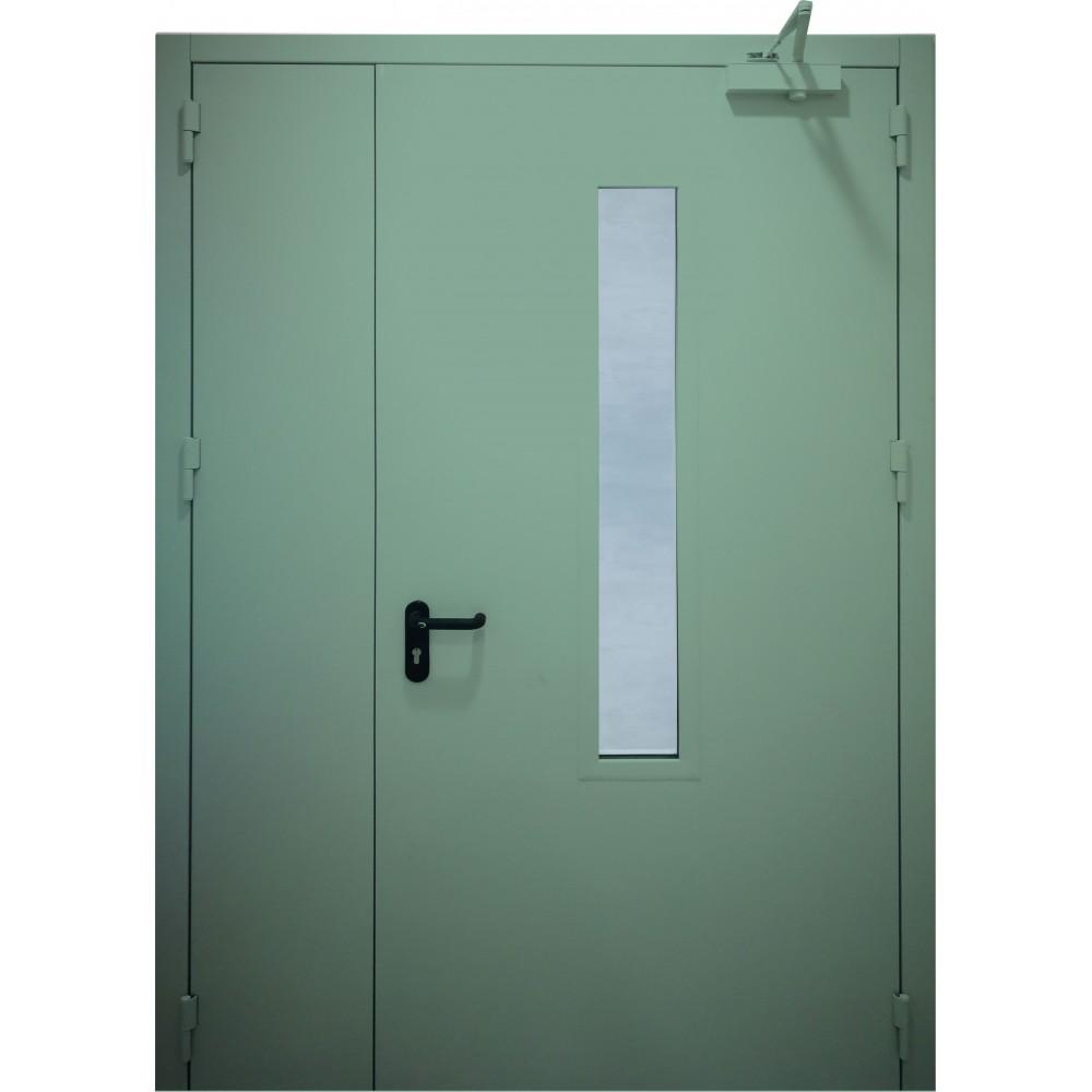 mėtinės žalios spalvos metalinės dvivėrės lauko durys su stiklu PROTECTUS, atsparios ugniai