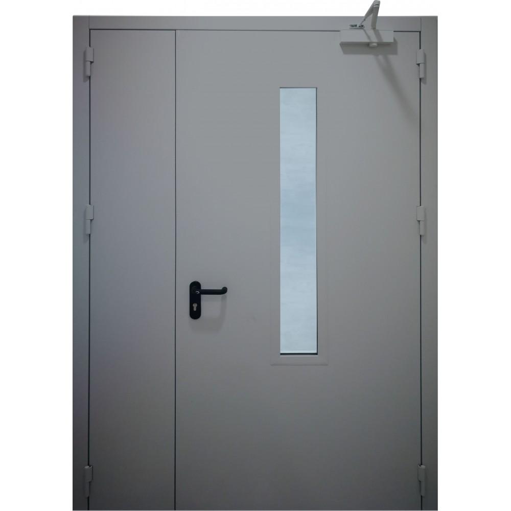 tamsiai pilkos spalvos metalinės dvivėrės lauko durys su stiklu PROTECTUS, oro pralaidumo klasė 4