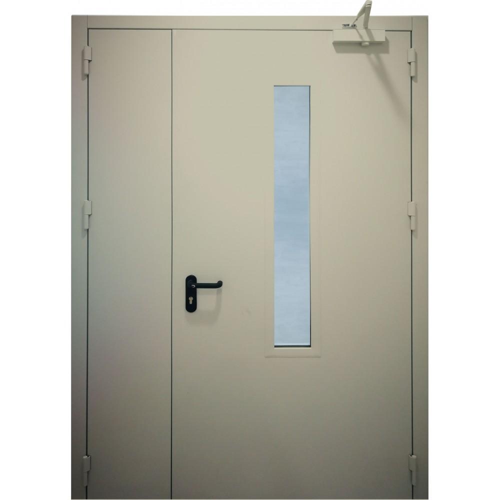 šviesiai pilkos spalvos metalinės dvivėrės lauko durys su stiklu PROTECTUS, oro pralaidumo klasė 4