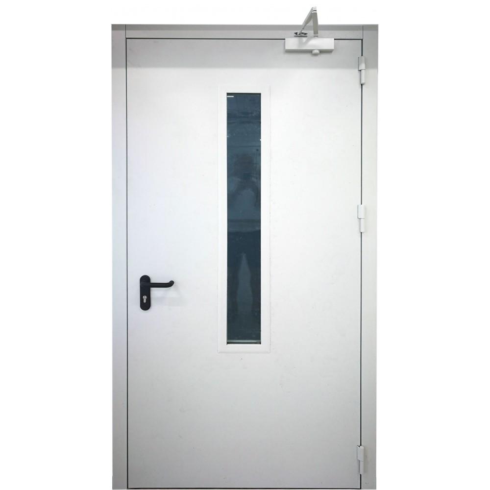 baltos spalvos metalinės lauko priešgaisrinės durys su stiklu PROTECTUS, aukšto tankio akmens vata