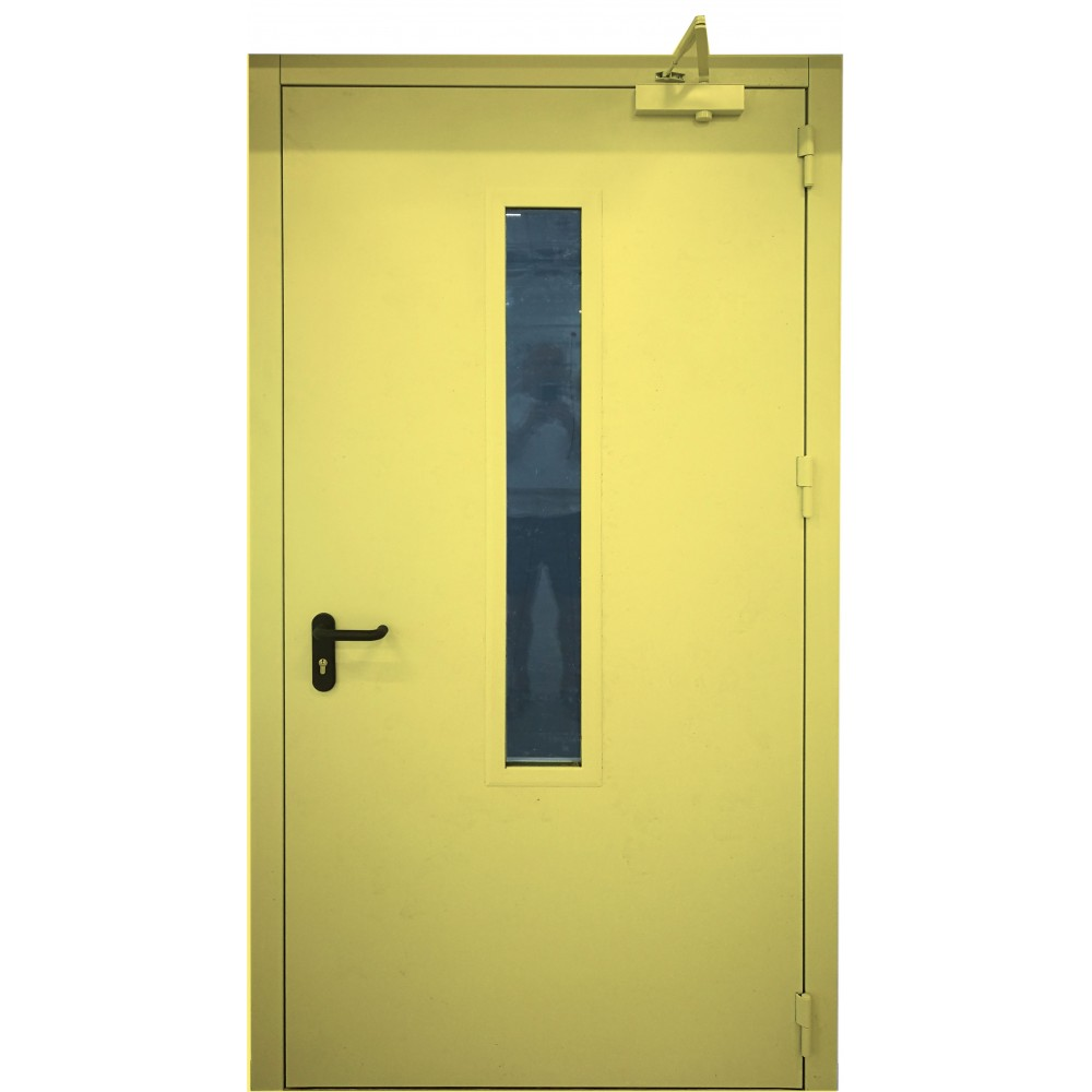 geltonos spalvos metalinės lauko priešgaisrinės durys su stiklu PROTECTUS, varčios storis 62mm
