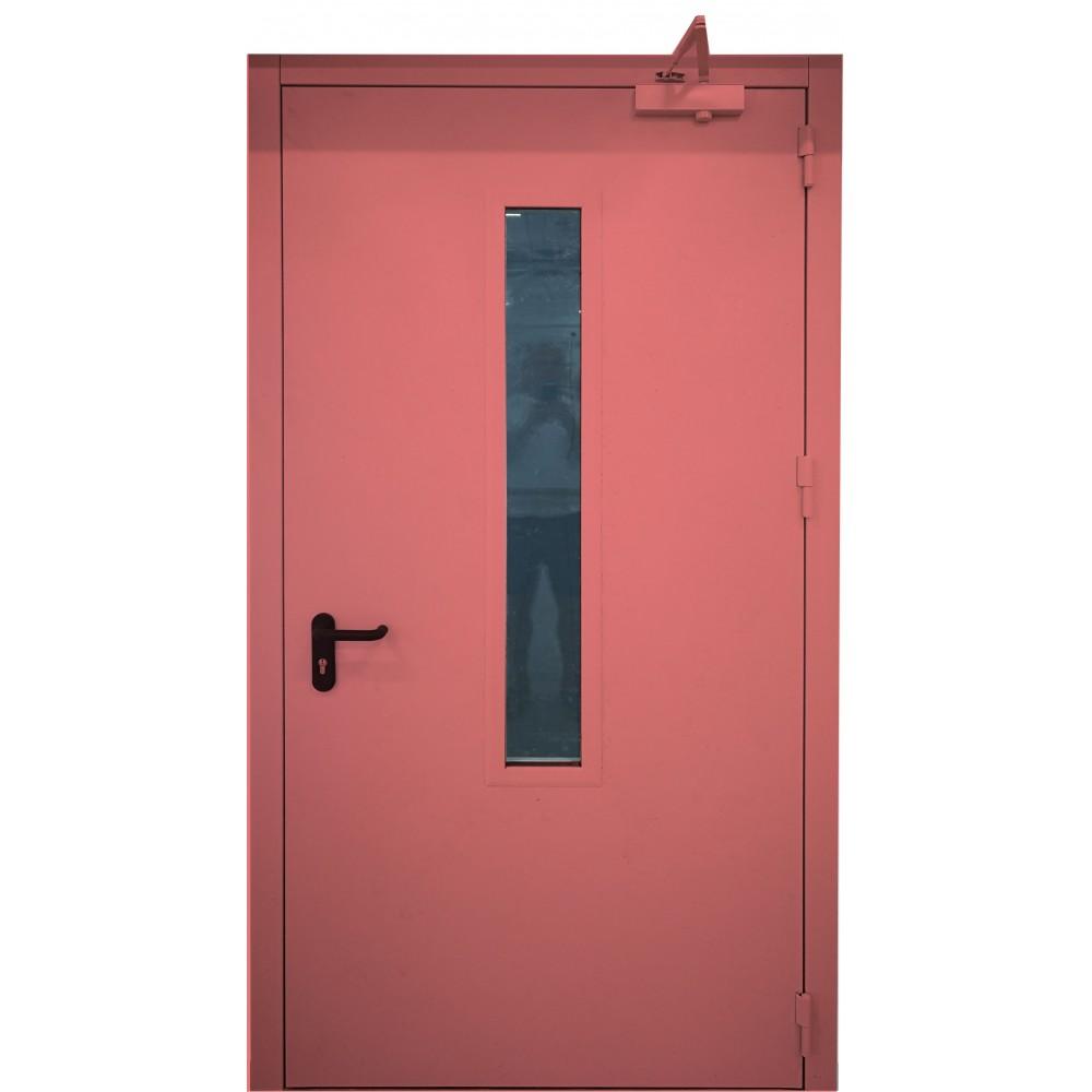 raudonos spalvos metalinės lauko priešgaisrinės durys su stiklu PROTECTUS, staktos 100m