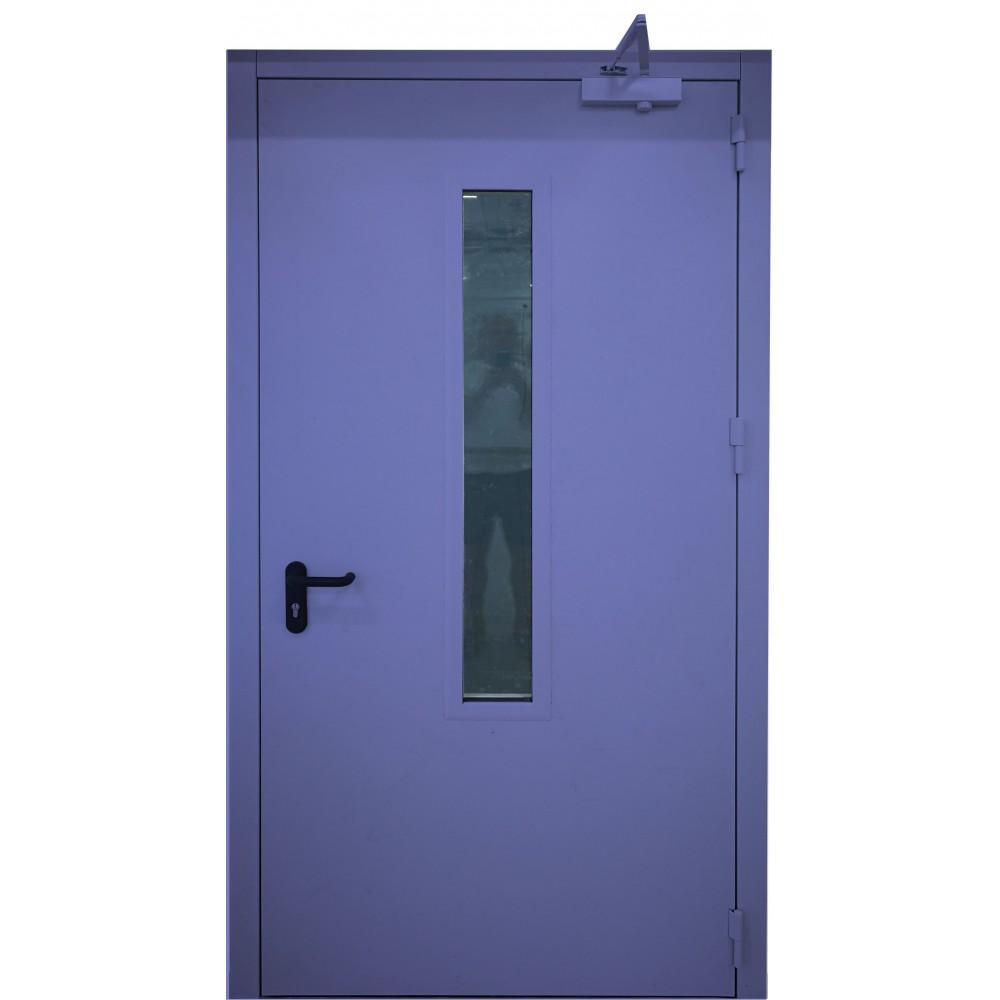 mėlynos spalvos metalinės lauko priešgaisrinės durys su stiklu PROTECTUS, su stiklinimu ir be jo