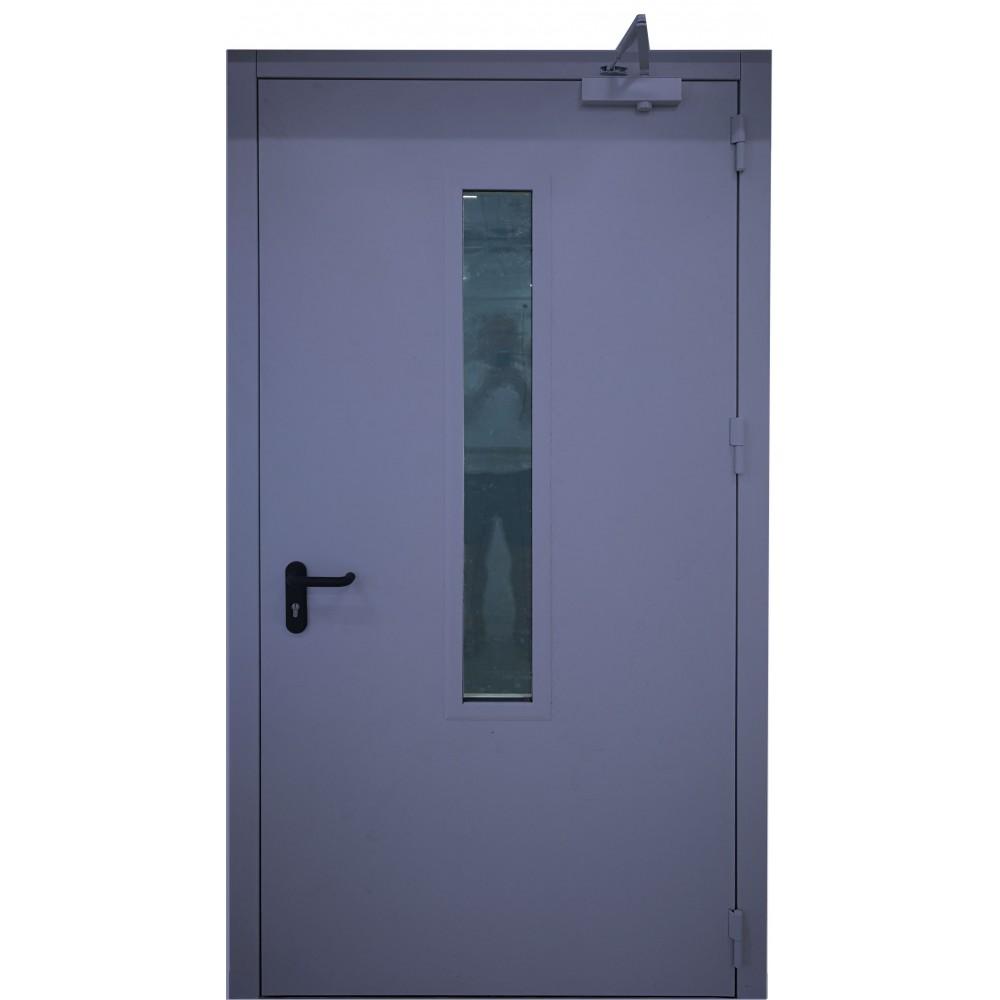 tamsiai mėlynos spalvos metalinės lauko priešgaisrinės durys su stiklu PROTECTUS, NESTANDARTINIŲ MATMENŲ METALINES DURIS