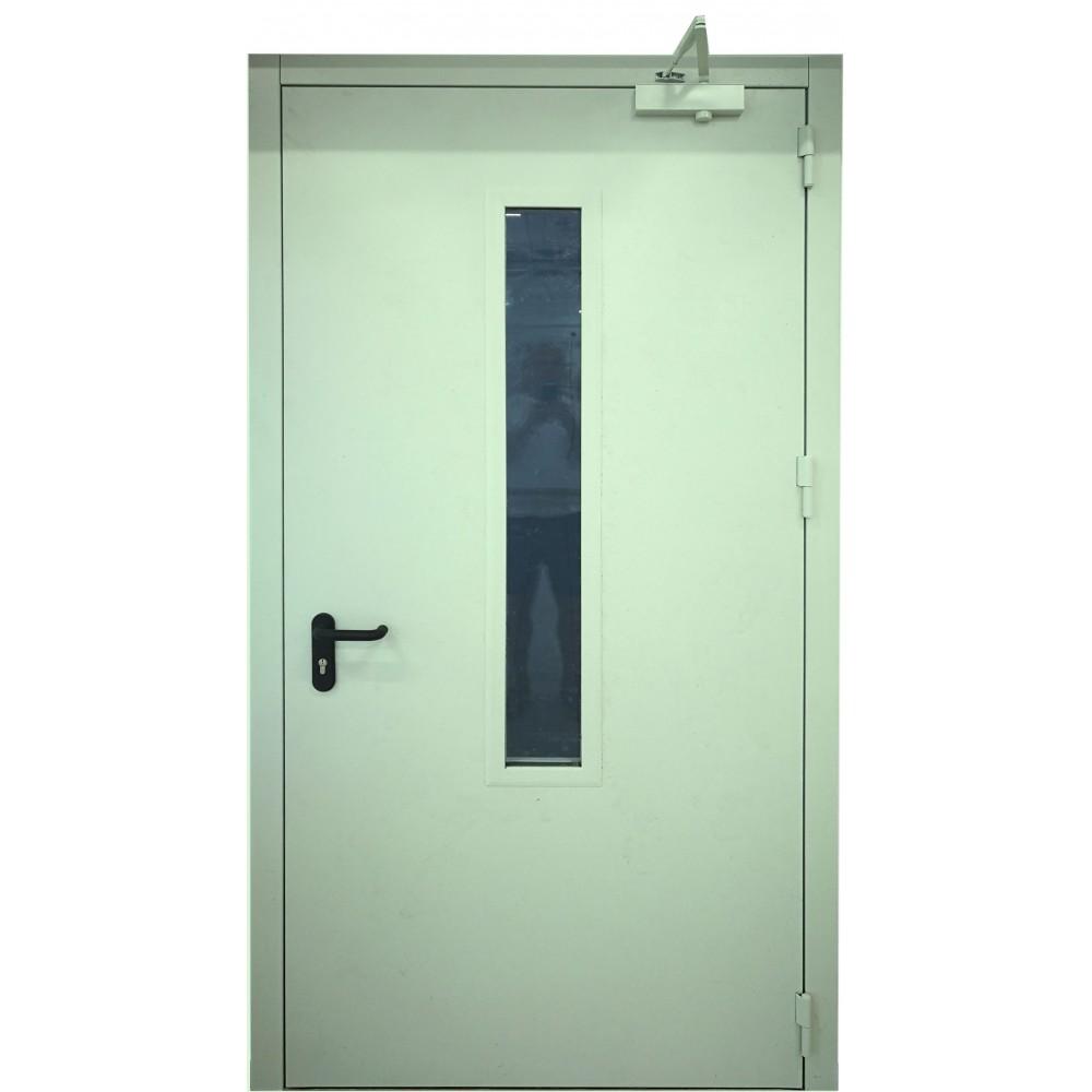 pastelinės žalios spalvos metalinės lauko priešgaisrinės durys su stiklu PROTECTUS, sertifikuotos priešgaisrinės apsaugos ir gelbėjimo departamento