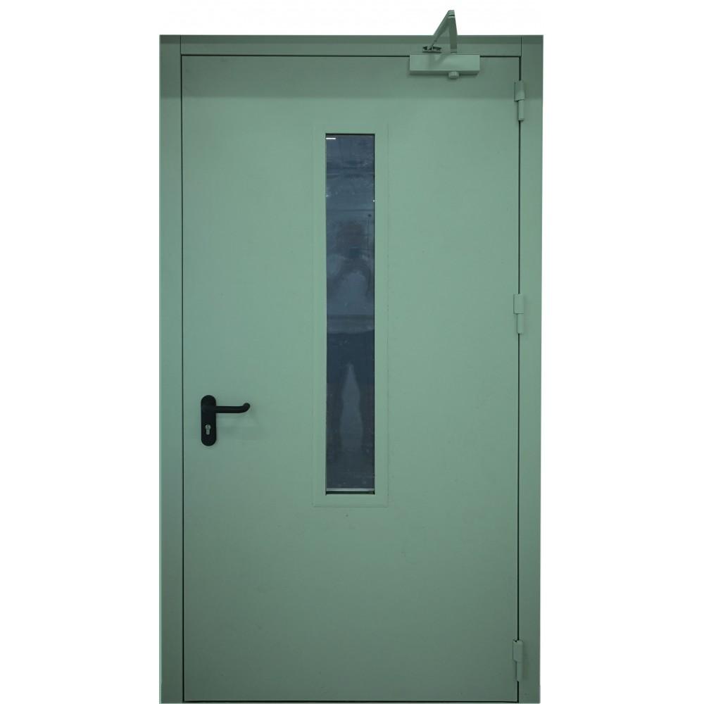 mėtinės žalios spalvos metalinės lauko priešgaisrinės durys su stiklu PROTECTUS, atsparios ugniai