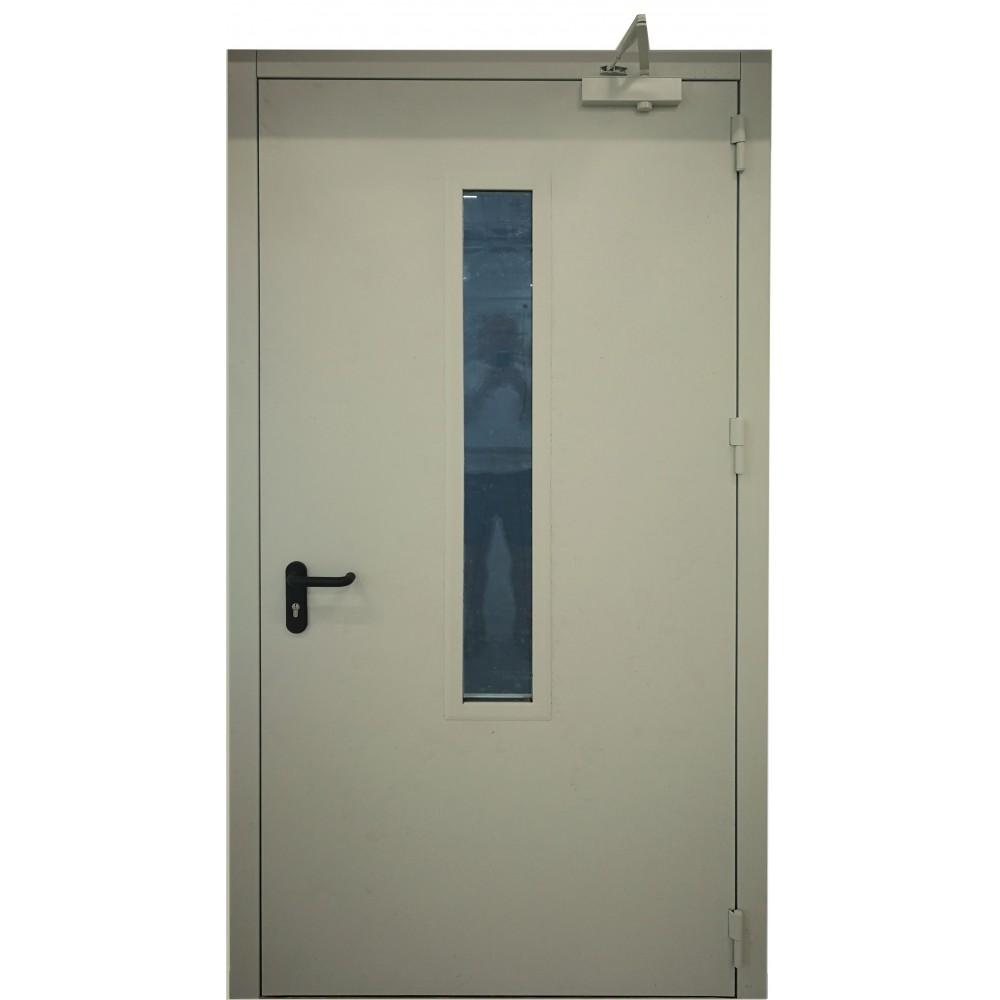 chaki spalvos metalinės lauko priešgaisrinės durys su stiklu PROTECTUS, sandarumo dūmams klasė Sa, Sm