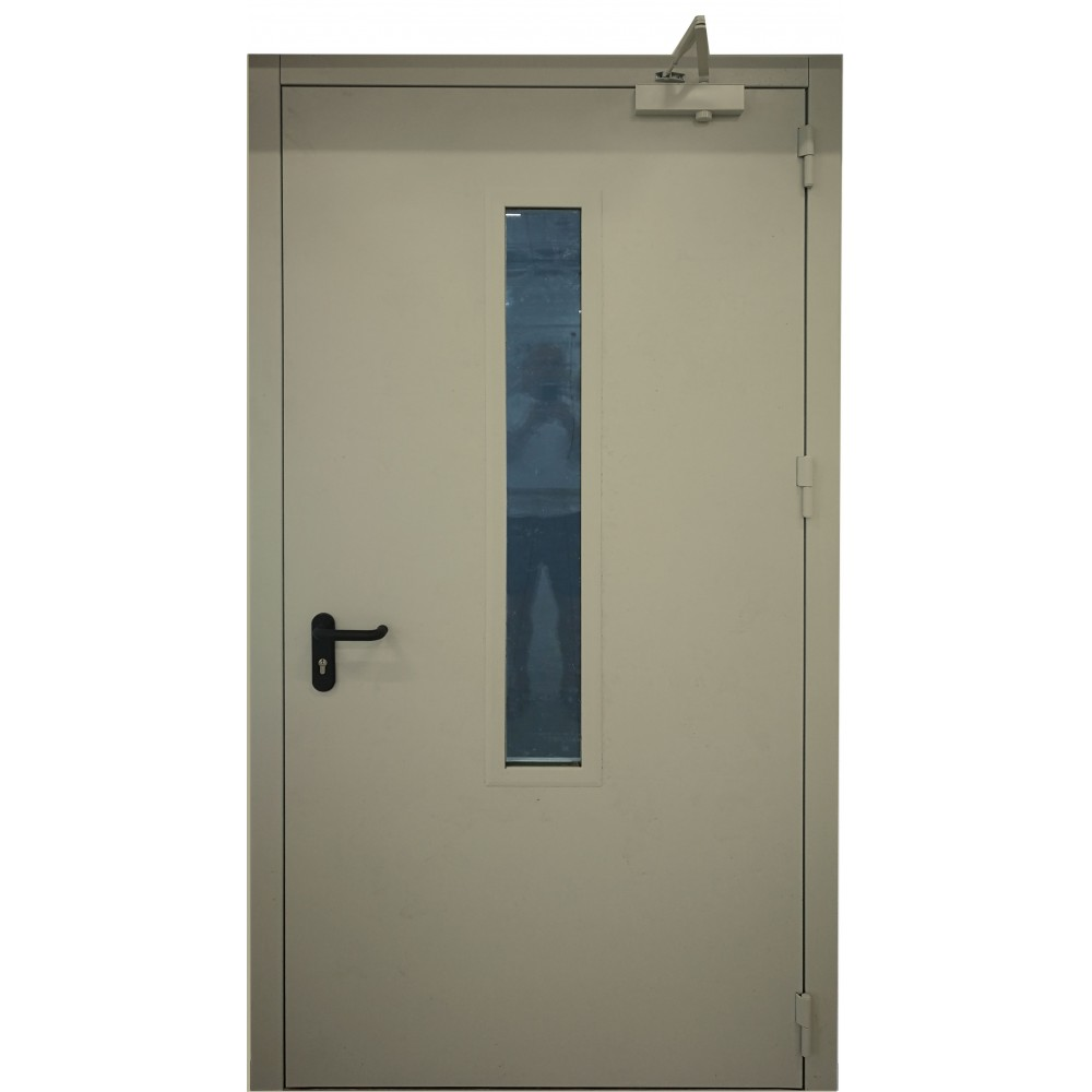 alyvuogių žalios spalvos metalinės dvivėrės lauko priešgaisrinės durys su stiklu PROTECTUS, garso izoliacijos rodiklis – 40dB