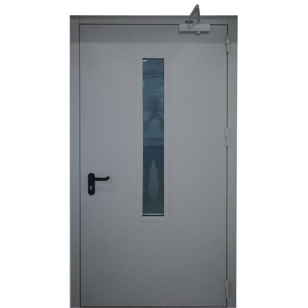 tamsiai pilkos spalvos metalinės dvivėrės lauko priešgaisrinės durys su stiklu PROTECTUS, oro pralaidumo klasė 4