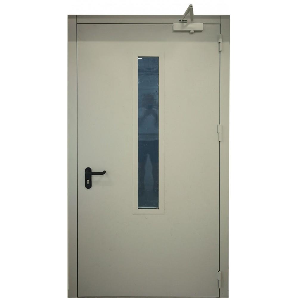šviesiai pilkos spalvos metalinės dvivėrės lauko priešgaisrinės durys su stiklu PROTECTUS, modernaus dizaino