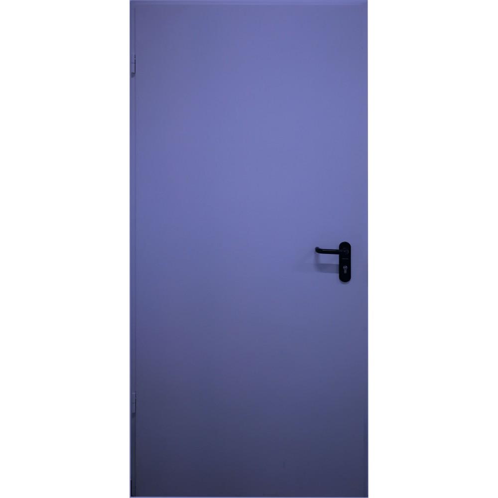 mėlynos spalvos metalinės lauko priešgaisrinės durys PROTECTUS, su stiklinimu ir be jo