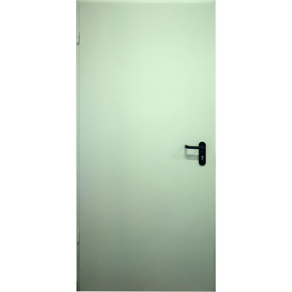 pastelinės žalios spalvos metalinės lauko priešgaisrinės durys PROTECTUS, sertifikuotos priešgaisrinės apsaugos ir gelbėjimo departamento