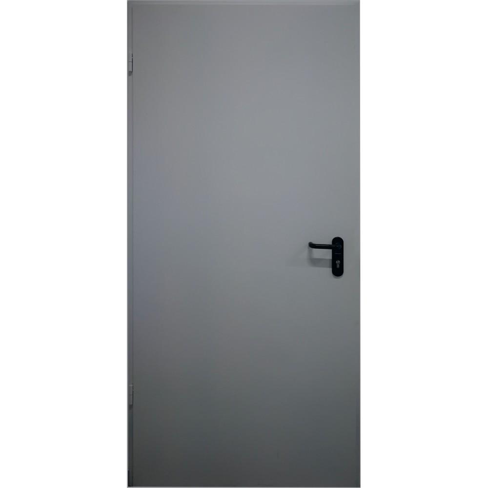 tamsiai pilkos spalvos metalinės lauko priešgaisrinės durys PROTECTUS, oro pralaidumo klasė 4