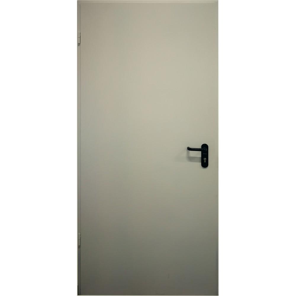 šviesiai pilkos spalvos metalinės lauko priešgaisrinės durys PROTECTUS, SPYNOS ASSA 565 ir ASSA 5000