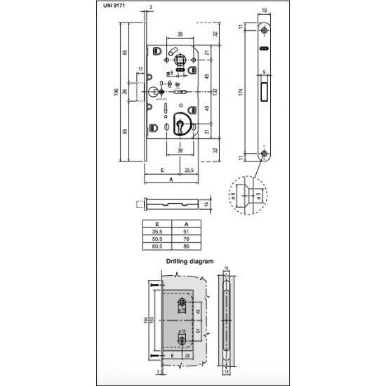 Vidaus durų AGB spyna POLARIS BB 90mm OC (magnetinė) - 9.09eur. AGB magnetinės spynos, www.doorshop.lt