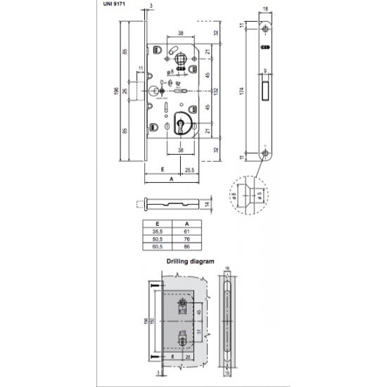 Vidaus durų AGB spyna POLARIS BB 90mm OGR (magnetinė) - 9.09eur. AGB magnetinės spynos, www.doorshop.lt