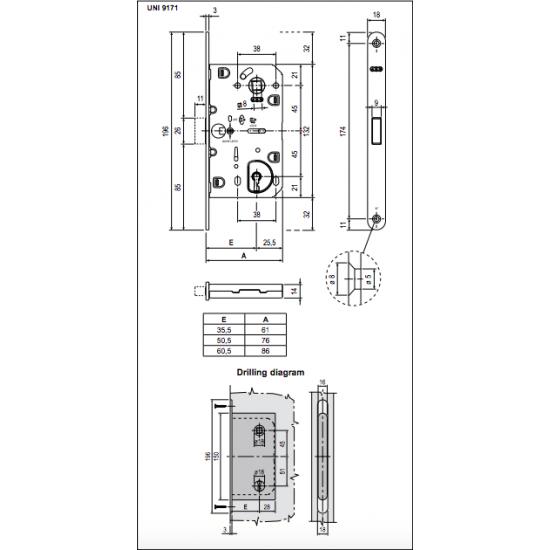 Vidaus durų AGB spyna POLARIS BB 90mm ZBN (magnetinė) - 12.40eur. AGB magnetinės spynos, www.doorshop.lt