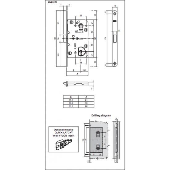 chrominė durų AGB spyna EVO BB 90mm, kokybiška