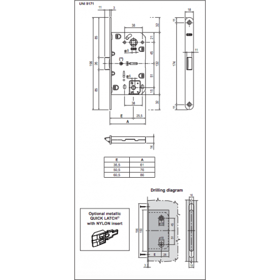 Vidaus durų AGB spyna EVO WC 96mm OLV , Spynos